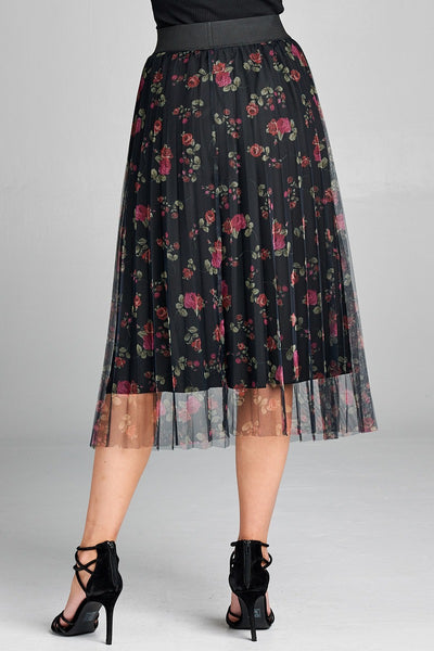 Ladies fashion elastic waist band w/accordian pleated floral print mesh midi skirt