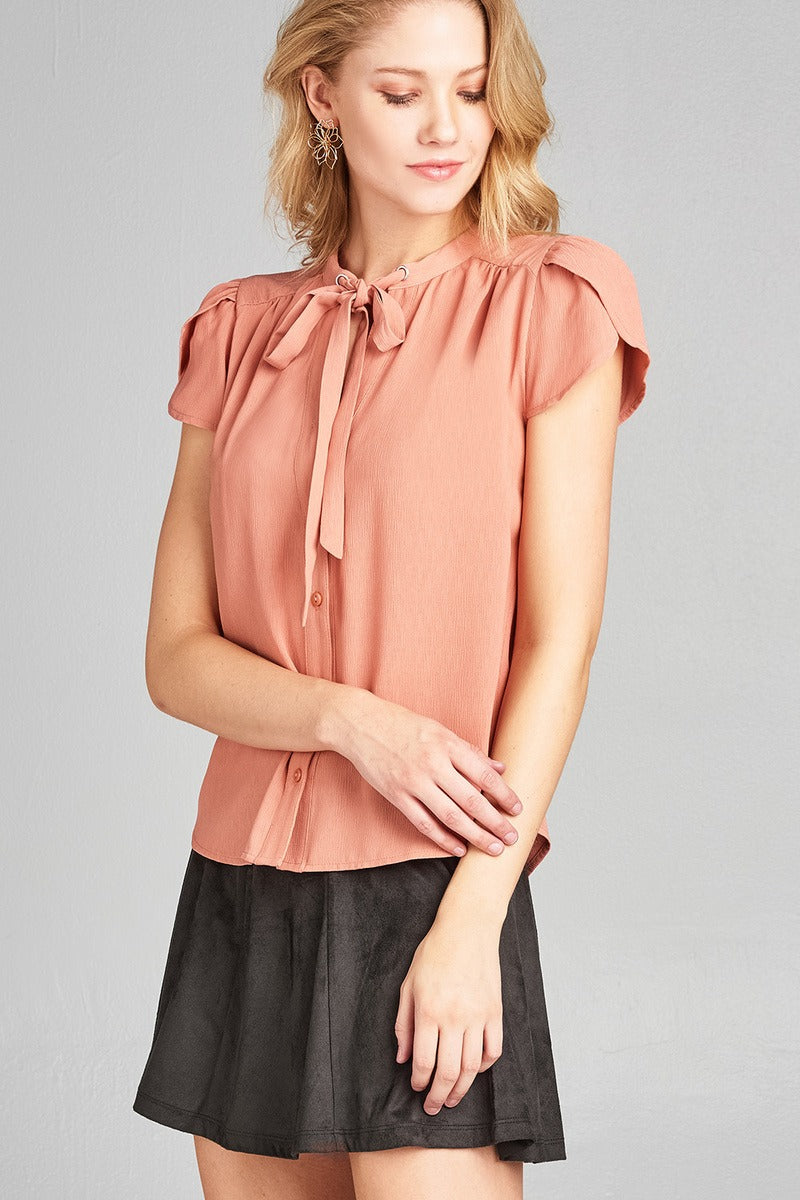 Ladies fashion tulip sleeve v-neck self tie w/eyelet detail front button woven top