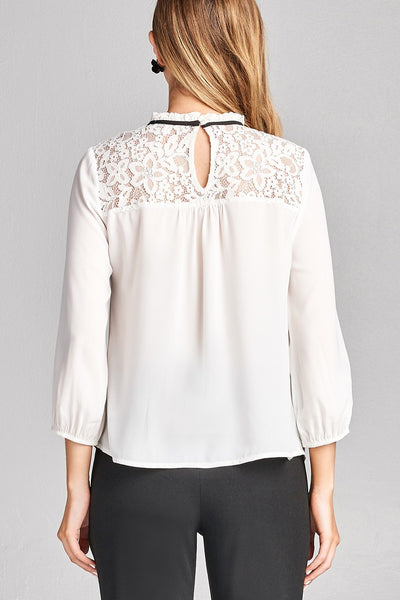 Ladies fashion plus size 3/4 sleeve lace yoke detail w/contrast tie woven top