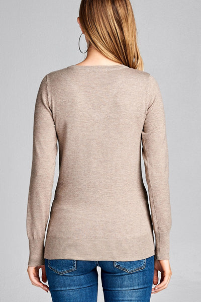 Ladies fashion long sleeve vneck classic sweater