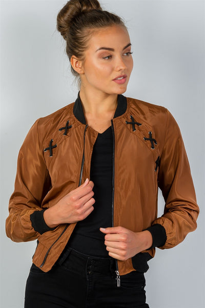 Ladies fashion front zipper closure sides laceup bomber jacket