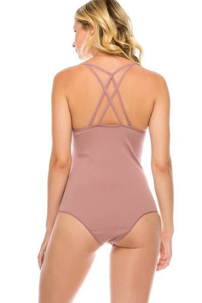 Ladies fashion criss cross back seamless bodysuit