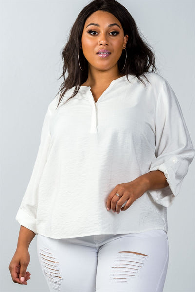 Ladies fashion plus size  oatmeal standup collar roll tab sleeve blouse