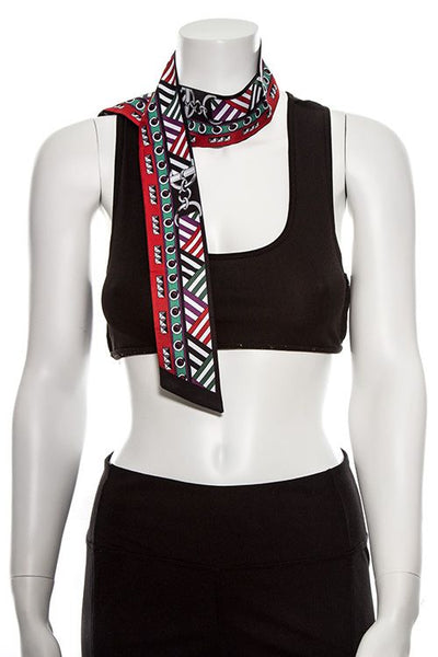 Multi functional mix print skinny lonf scarf