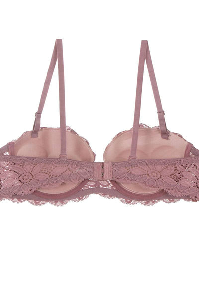 Ladies fashion floral lace overlay demi bra w/underwire