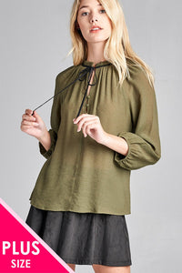 Ladies fashion plus size 3/4 sleeve contrast tie front button detail slub gauze woven top