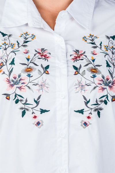 Ladies fashion plus size floral embroidered button down shirt