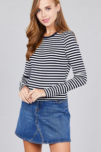 Ladies fashion long sleeve crew neck striped dty brushed top