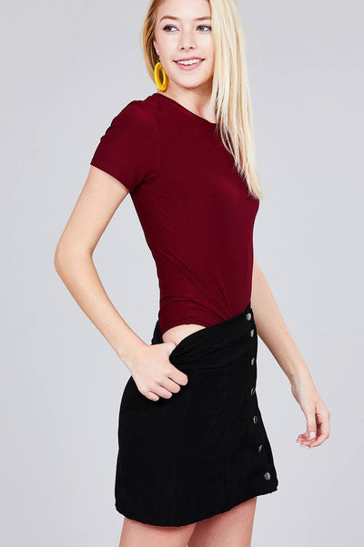 Ladies fashion short sleeve crew neck dty brushed bodysuit