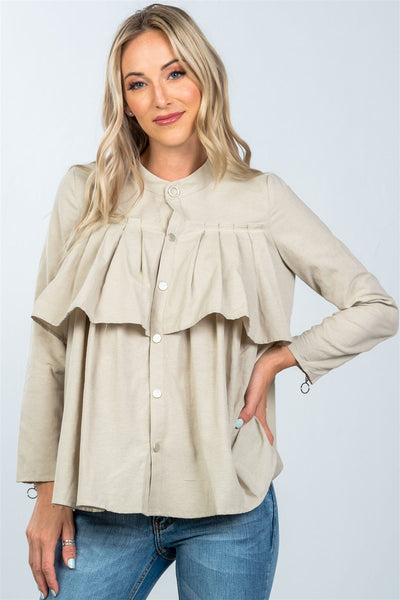 Layer pleated button down top