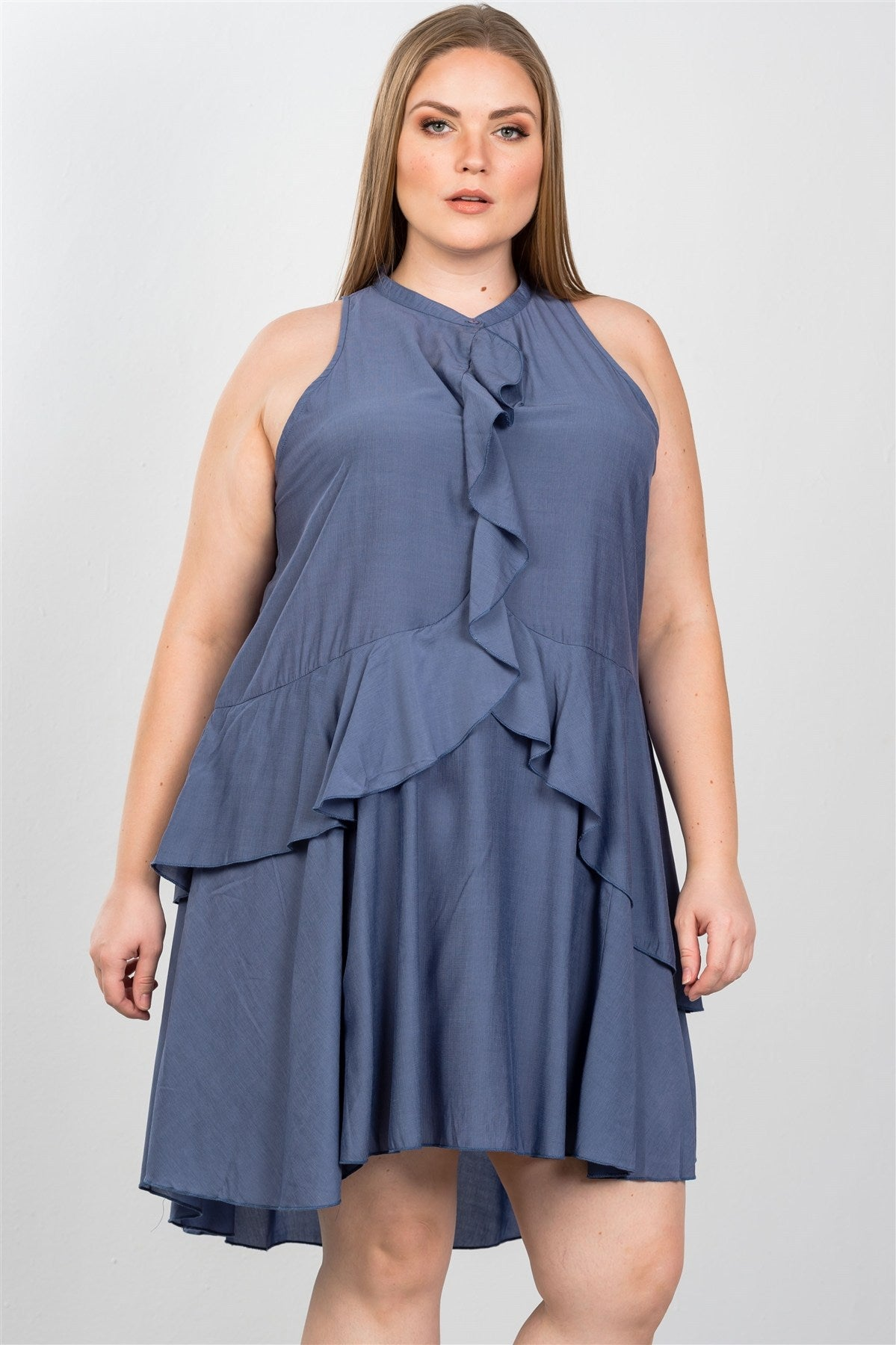 Ladies fashion plus size draped-ruffle front sleeveless swing mini dress