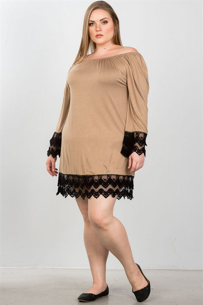 Ladies fashion plus size contrast crochet trim hem dress