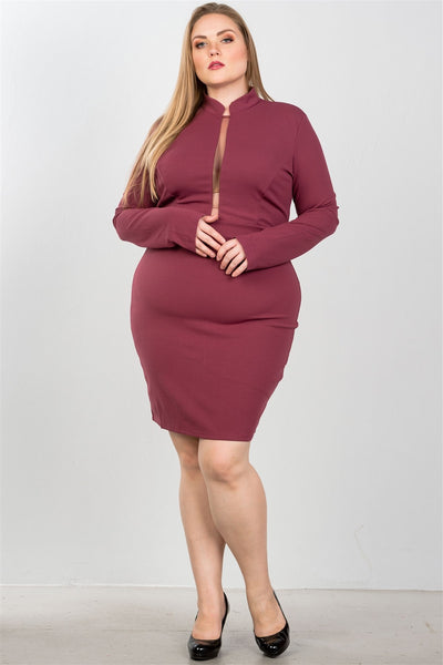 Ladies fashion plus size sexy high neck mesh insert bodycon midi plus size dress