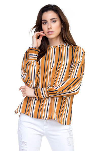 Long smocked sleeve stripe shirt