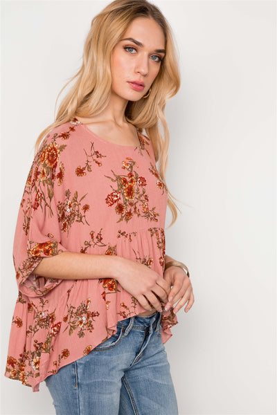 Floral Multi Peach High Low Round Neck Top