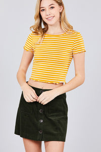 Short Sleeve Round Neck Lettuce Hem Stripe Jersey Cotton Spandex Top