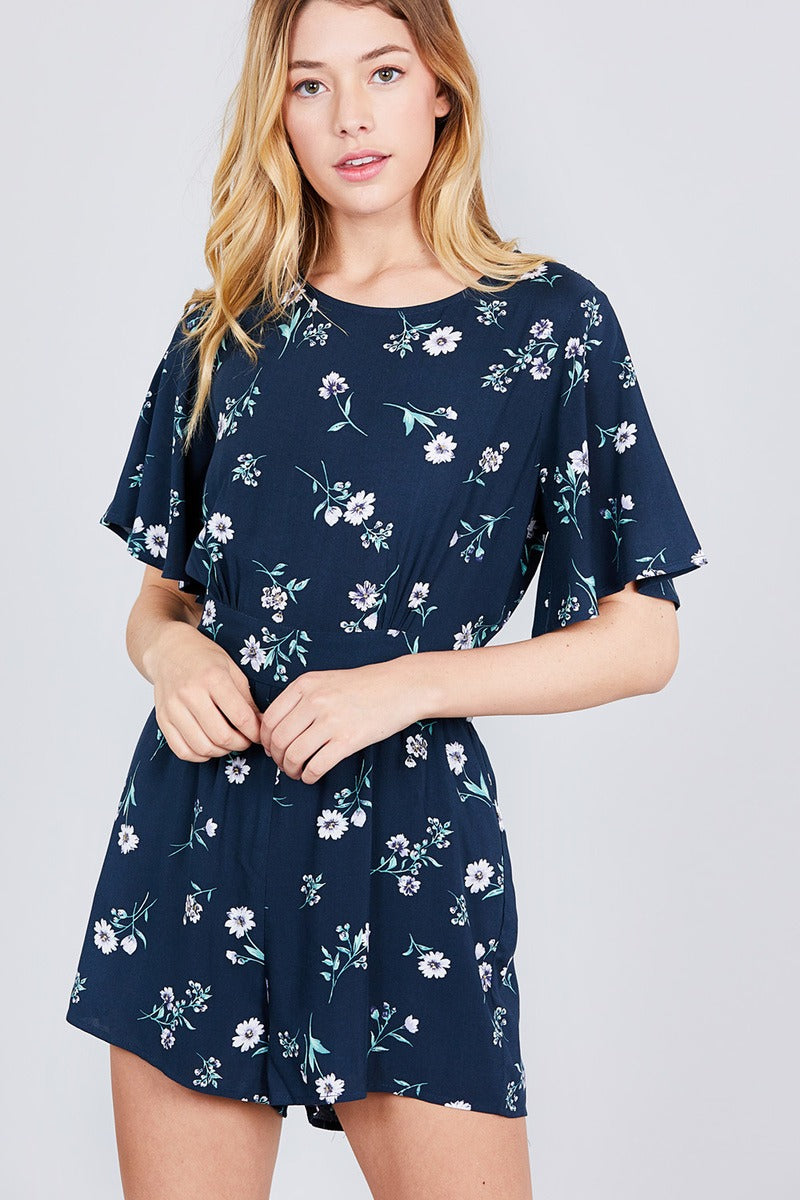 Bell Short Sleeve Back Open Waist Belt Print Romper