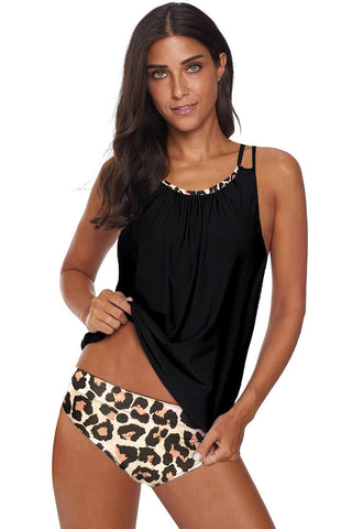 Leopard Print Criss Cross Hollow-out Tankini Swimwear