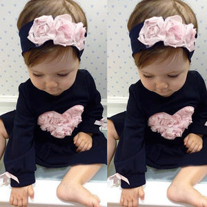 Floral Heart Long Sleeve Princess Dresses