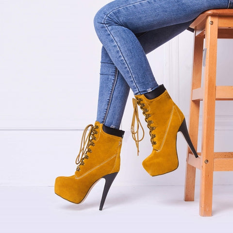 Platform Heels Lace Up Ankle Boots