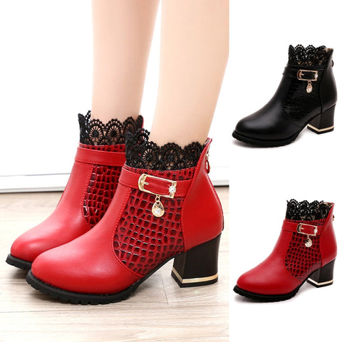 Ankle Lace Short Boots Female Comfortable