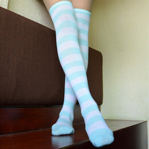 Sexy Girl Thigh High Striped Over the Knee Stockings