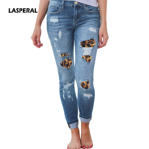 Womens Plus Size High Waist Jeans Solid Leopard