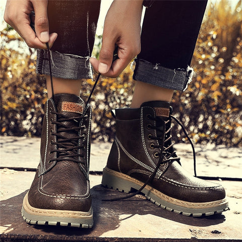 Men Winter Lace Work Boots