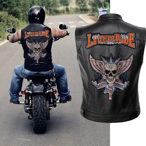 Mens Leather Motorcycle  Skull Jacket