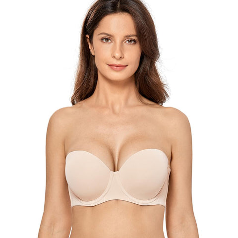 Seamless Strapless Women Bra Plus Size Contour Underwire Full Figure Bras Multiway Brassiere