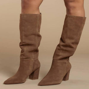 Suede Boots Chunky Square Heel