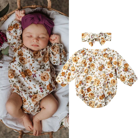 Girls Bodysuit Long Sleeve Floral Jumpsuits For Girls Clothes Summer Jumpsuit Hairbands Girls Outfits