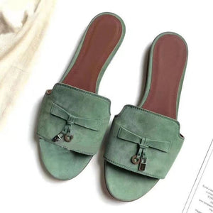 Spring summer round kid suede Flat Slippers