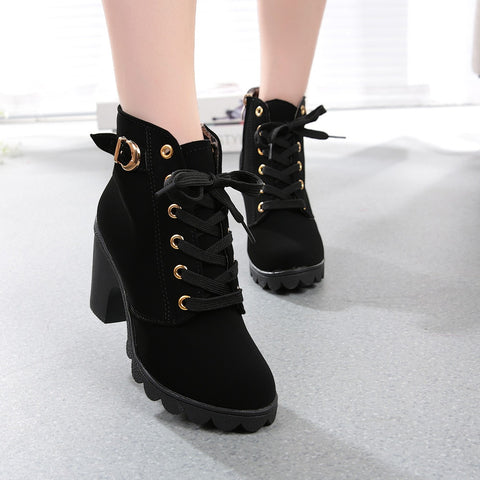 Women Boots High Quality Solid Lace-up