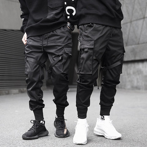 Men Cargo Pants Ribbons HipHop