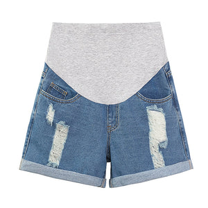 Ripped Hole Rolled Up Wide Leg Loose Thin Denim Maternity Shorts