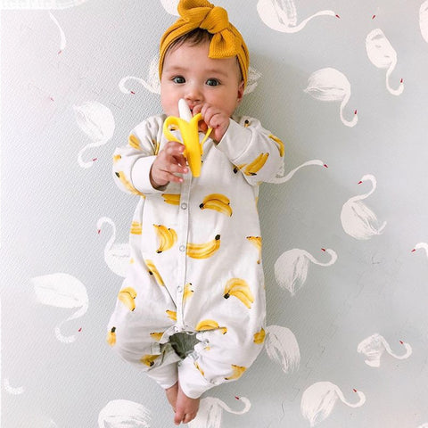 Banana Long Sleeve Button Newborn Baby Girl Clothes
