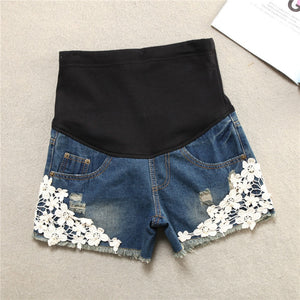 Lace Flower Pregnant Woman Denim Support Abdomen Shorts