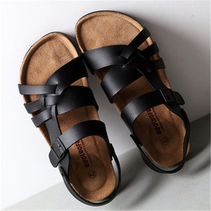 Leather Black Cork Sandals