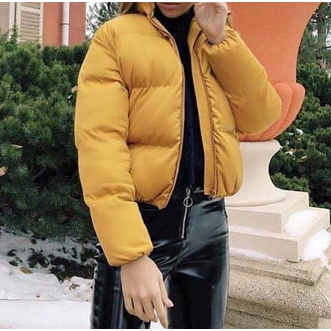Winter Thicken Solid Stand Collar Warm  Cotton Padded Puffer Jacket