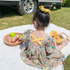 Floral Dress Kids Back Cross Dresses