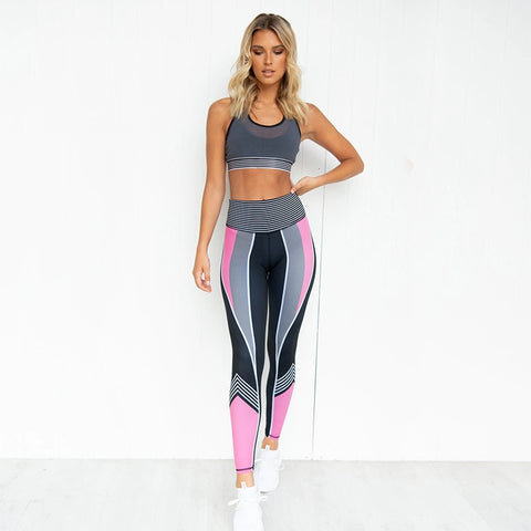 2Pcs Padded Bras Top Leggings Gym set