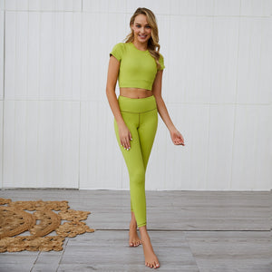 Sportwear Short Shirt Pad High Waist Legging Fitness Suits