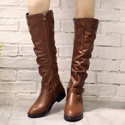 Knee-High Shoes Round Toe Boots