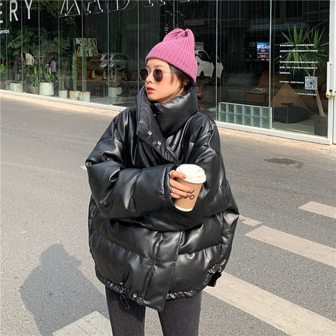 Leather Parka Thick Warm Faux Leather Puffer Jacket