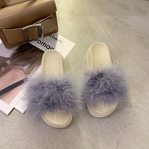 Women Slide Ostrich feather Warm Fluffy Slippers