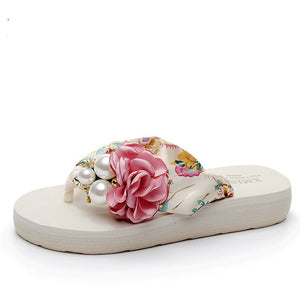 Thick Heeled Sandals Flower Wedge flip flops