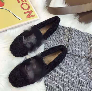 Winter Women Loafers Plush Slippers