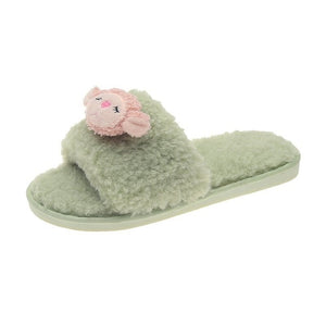Monkey Ladies Fluffy Mules Soft Slippers