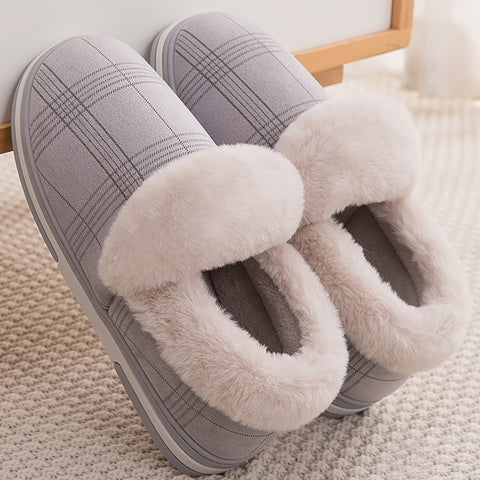 Gingham Plush Slip on Fur Slippers